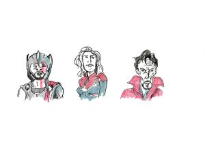 Superheroes Thor, Black Widow, Doctor Strange
