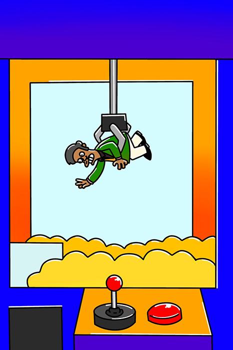Apu in a Grab a Toy Machine
