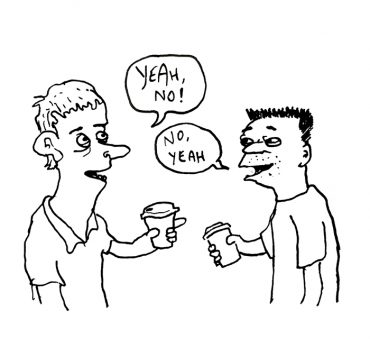 Two men exchanging familiar phrases