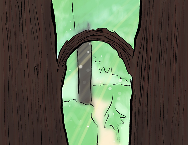 Two illustrated trees connected by a single arched branch, creating an entrance to a lush green forest beyond.