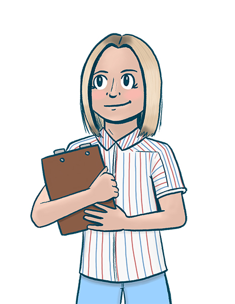 Illustrated drawing of the grinning blonde protagonist of The Good Place clutching a clipboard close to her red, white, and blue blouse.