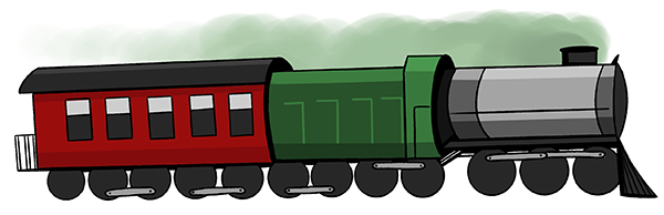 Illustrated freight train with a green engine and a red train cars behind it.