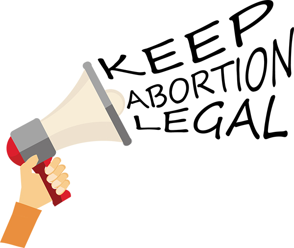 """Animated hand holding a megaphone spewing the phrase """"Keep Abortion Legal"""""""