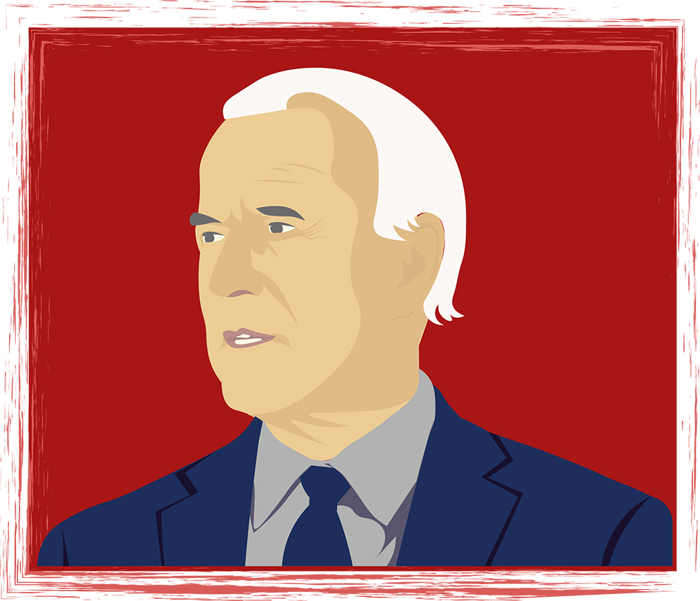 A computer animated Joe Biden, shoulders up, in front of a dark red background. He is facing to his right, staring sternly into the distance.
