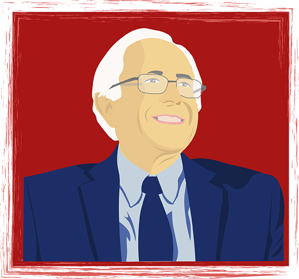 A computer animated Bernie Sanders in front of a dark red background, he is facing left and smiling at what he sees.