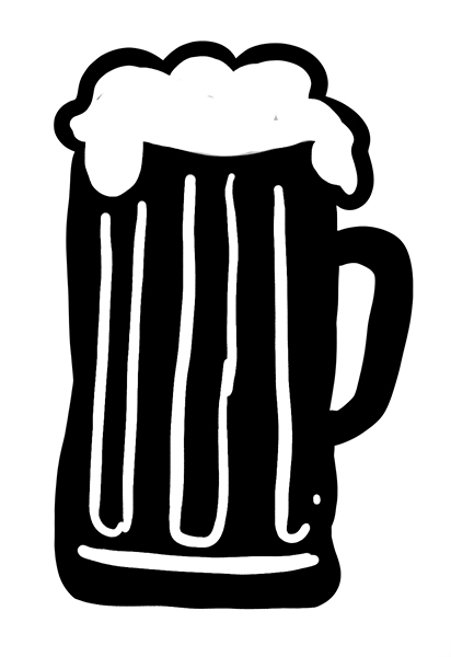 Black illustrated overflowing beer mug.