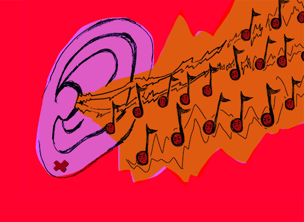A funky purple ear drawn on top of a red background. Flooding inside the ear are several musical notes and sound waves together in an orange cloud of sound.