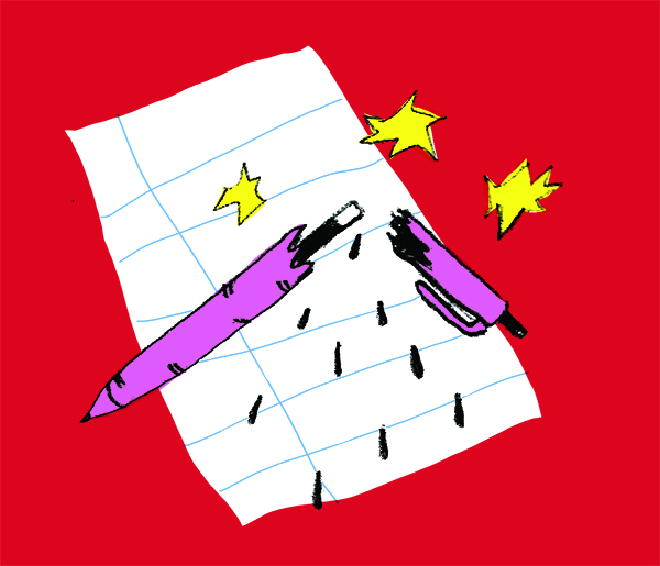 "Illustration of a just-broken purple ink pen dripping ink onto a piece of white lined paper. Yellow ""sparks"" depict the unpleasant noise the pen makes."