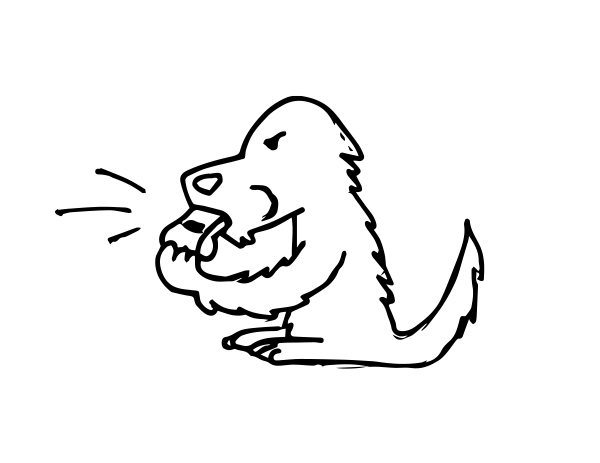 Black line drawing of an agitated dog sitting and blowing a whistle.