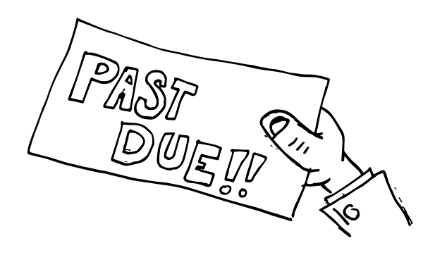 "A black line drawing of a hand holding a bill that says, ""Past Due!!!"""