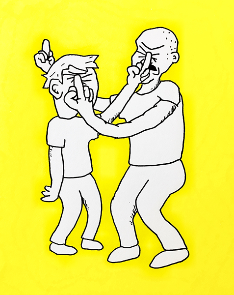 illustration by Josh Gates of two people flipping each other off very aggressively but drawn in a silly way against a yellow background.