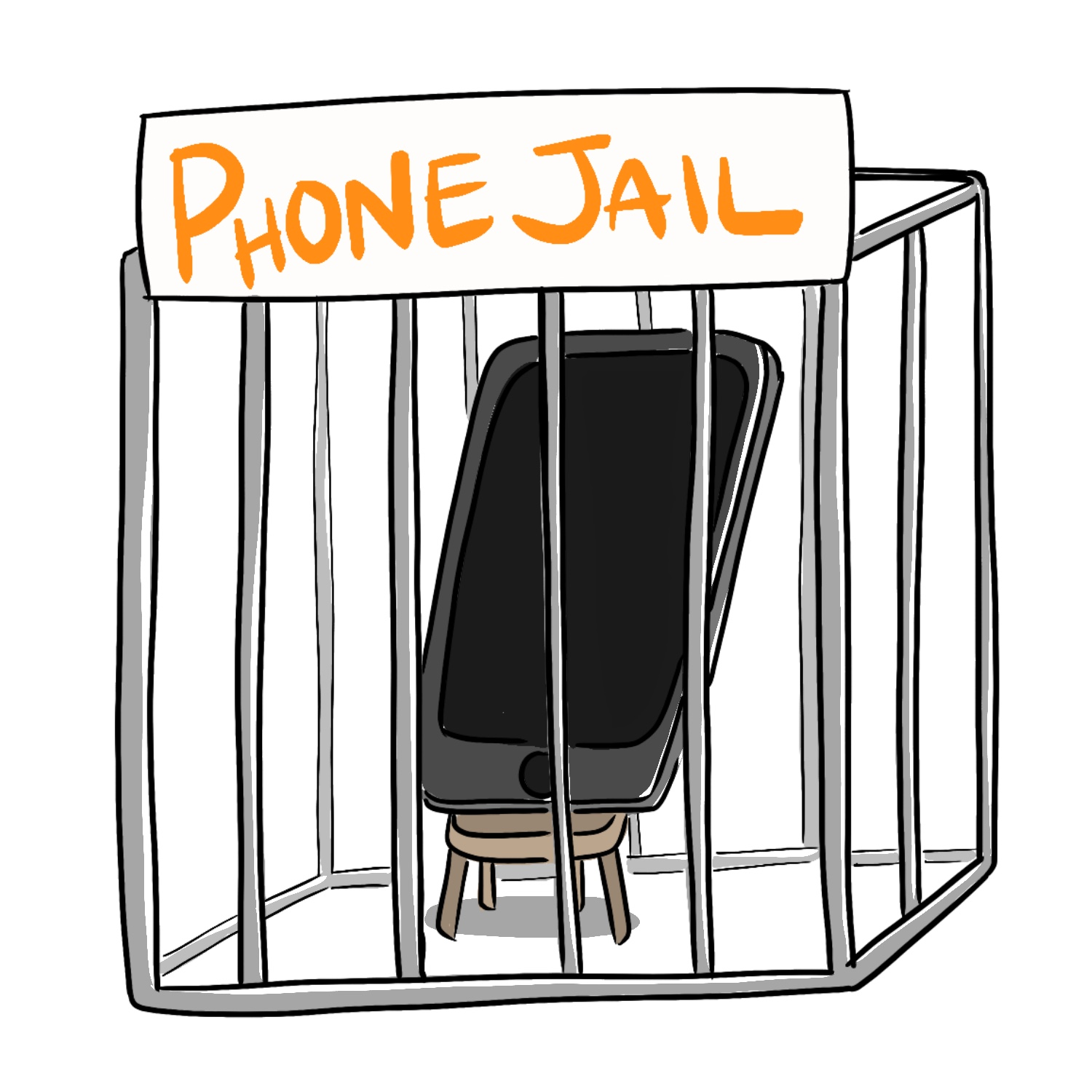 illustration of a smartphone inside of a tiny jail cage. It says Phone Jail across the top of the cage.