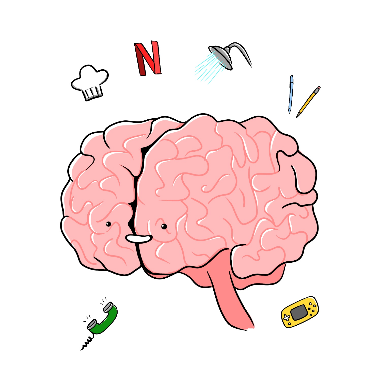 An illustrated pink brain with tasks (such as a telephone, a radio, a shower head, a chef's hat, a pen and pencil, a red Netflix N, and a Nintendo Switch) all floating around the brain.