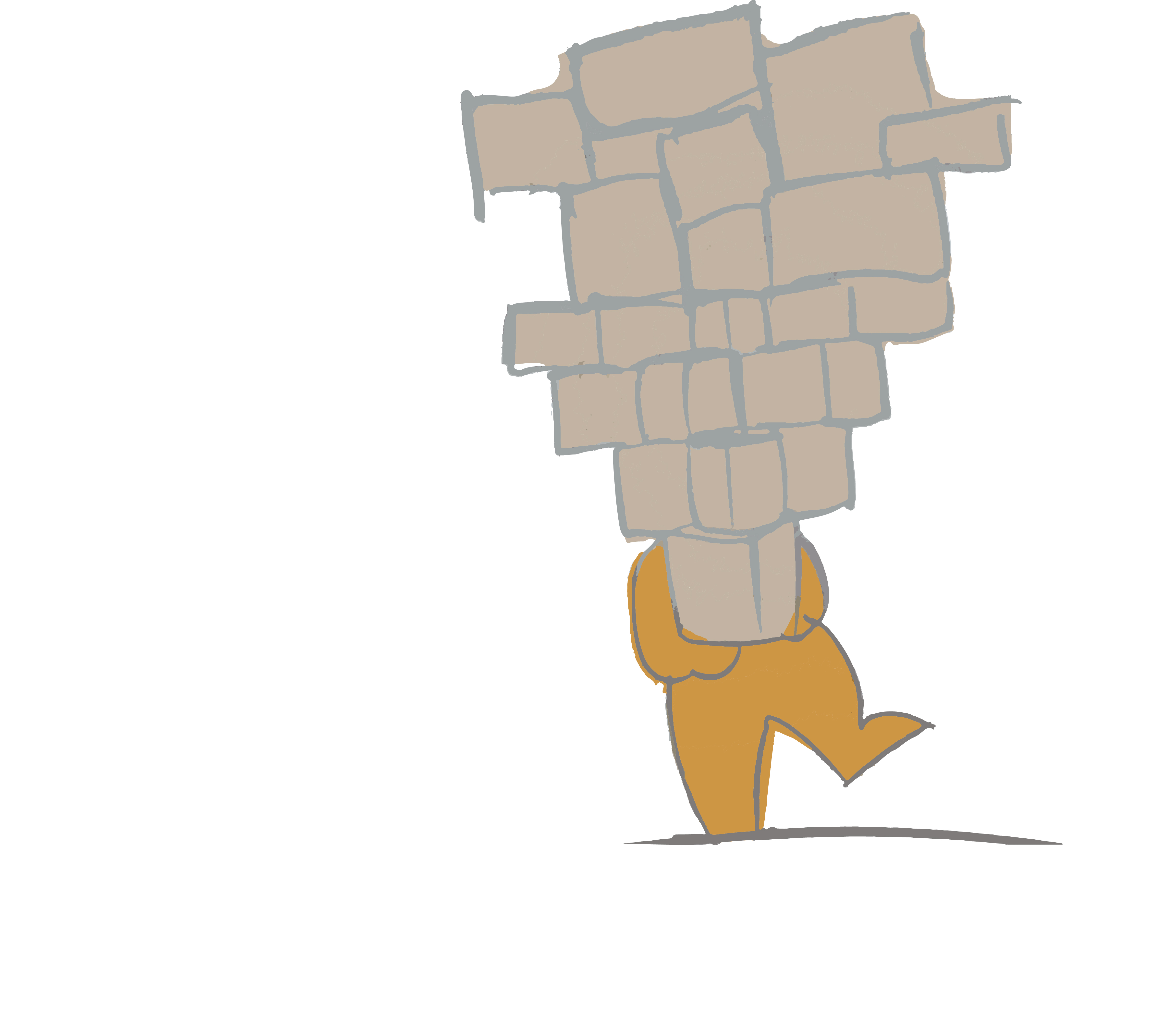 Digital illustration of a person struggling to hold an unequal pile of blocks.