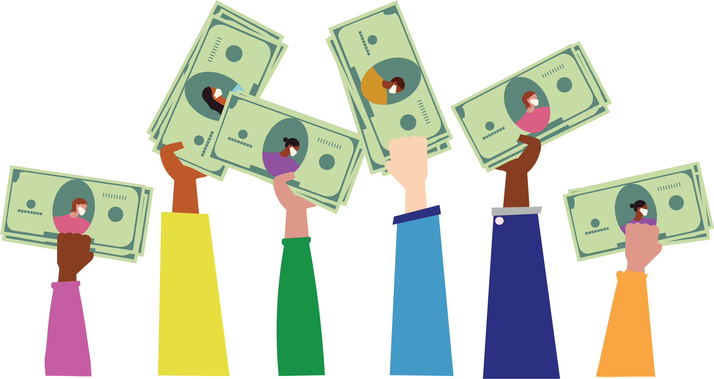 Digital illustration of 6 arms of different people each clutching their green money in their hands. On the money are people of different races wearing surgical masks.