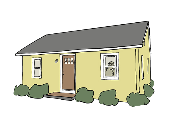 illustration of a yellow single family home with a  brown door, inside a bored person seems to be peering out of the window.