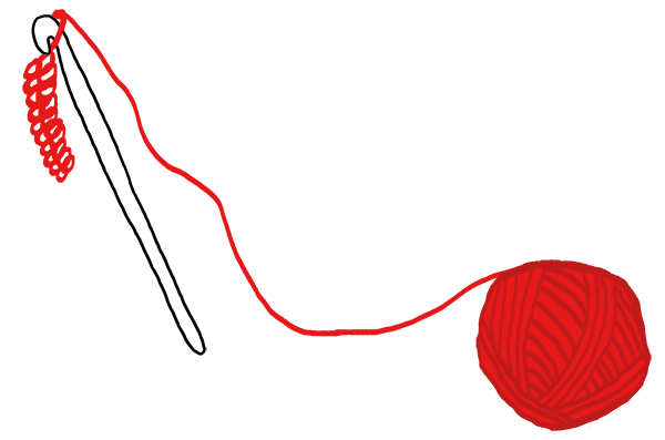 Illustration of a red ball of yarn looped into a crocheting needle.