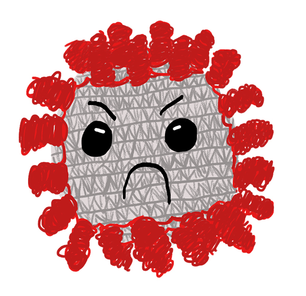 Illustration of a mean looking virus. Gray molecule body with red spikes coming from out of it.