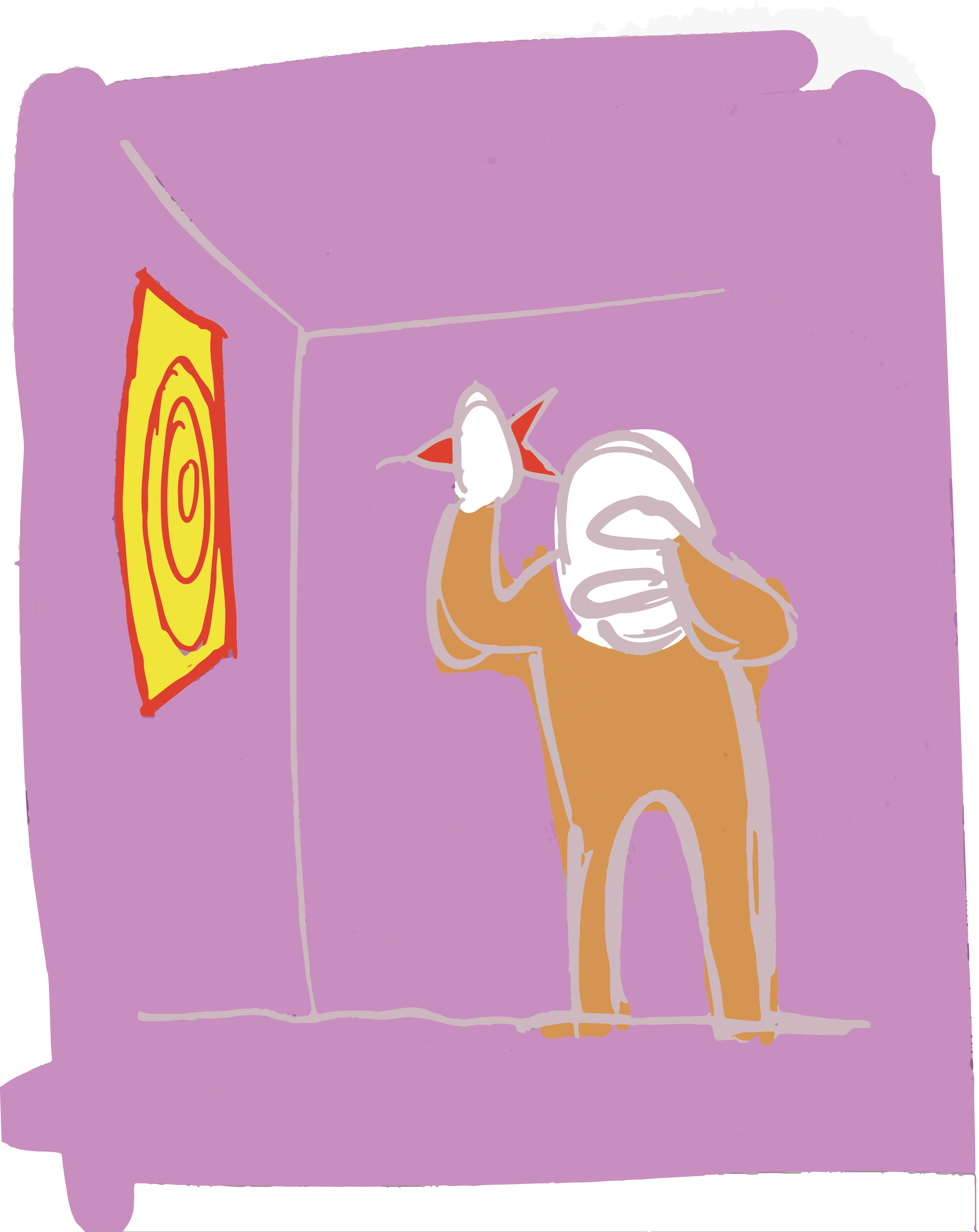 Digital illustration, purple background, someone playing darts with their hand over their eyes.