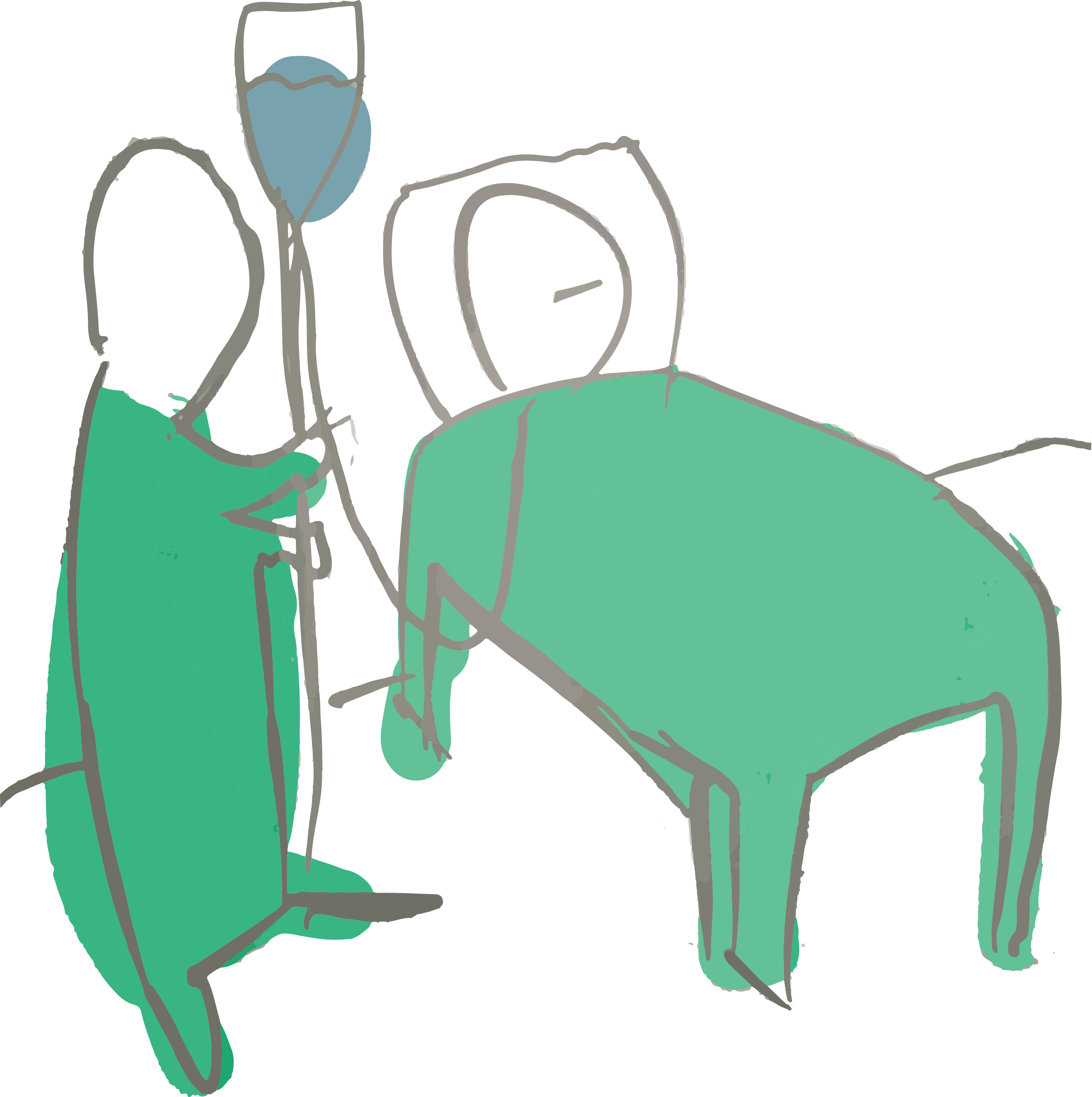 Digital illustration, white back ground, someone lying in a hospital bed with a nurse next to their bedside.