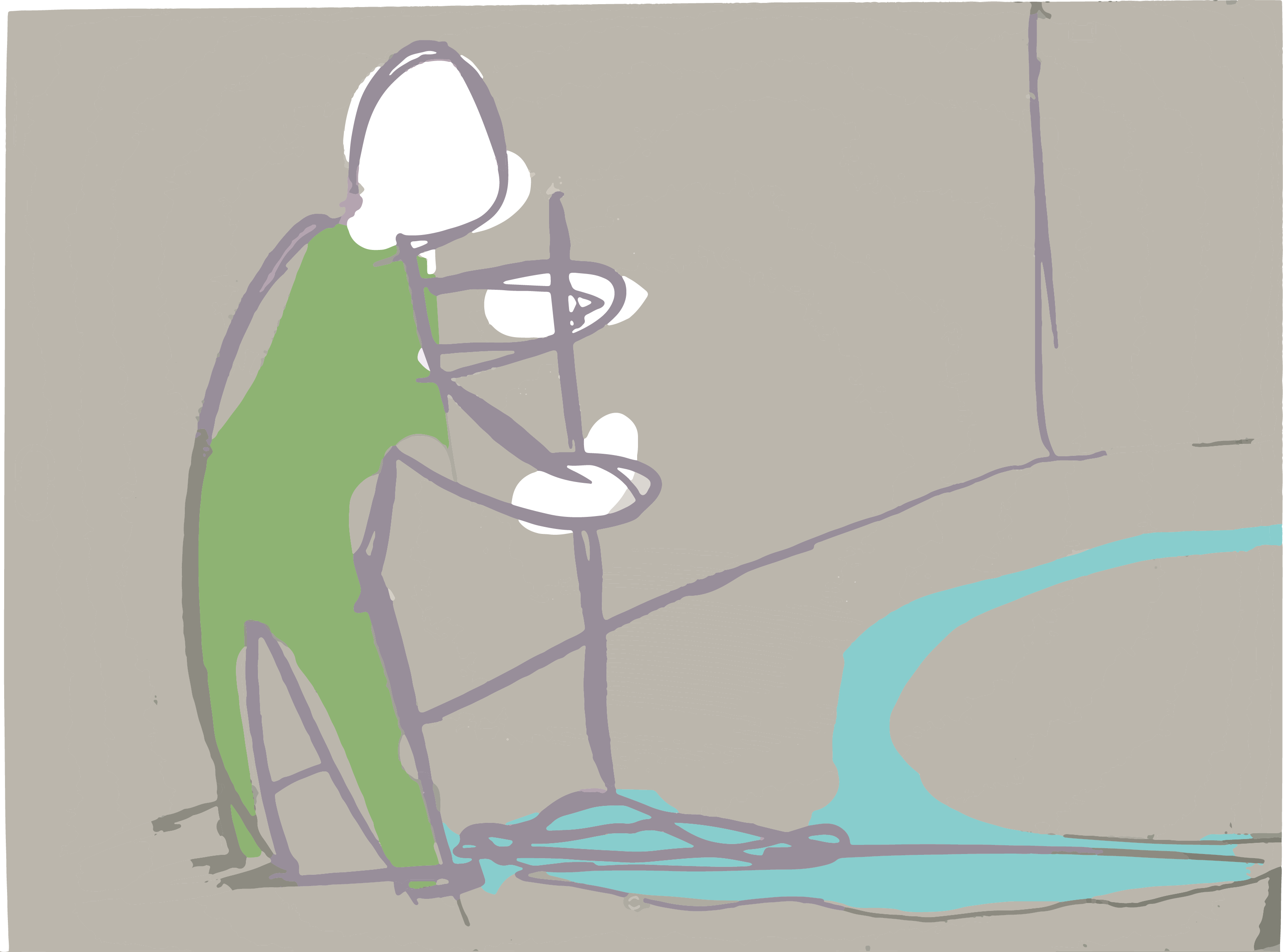 Digital illustration, gray background, a person wearing a green workers jumpsuit mopping the floor.