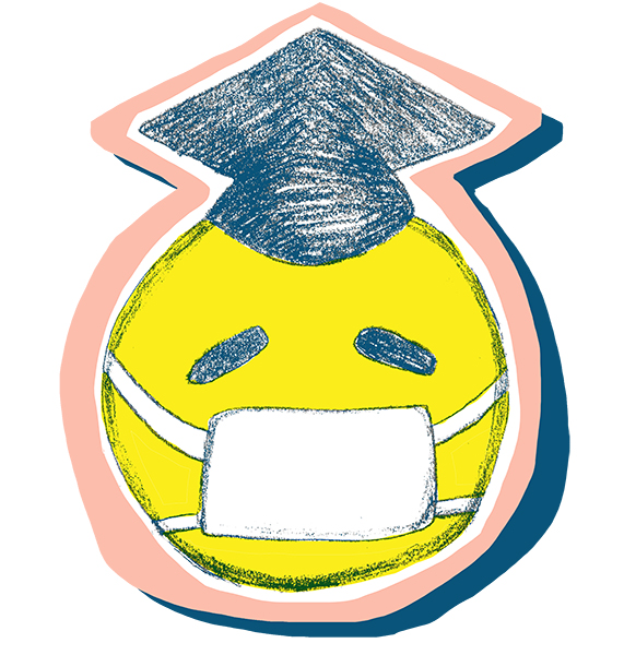 An illustration of a yellow happy (sad) face wearing both a medical mask and a graduation cap.