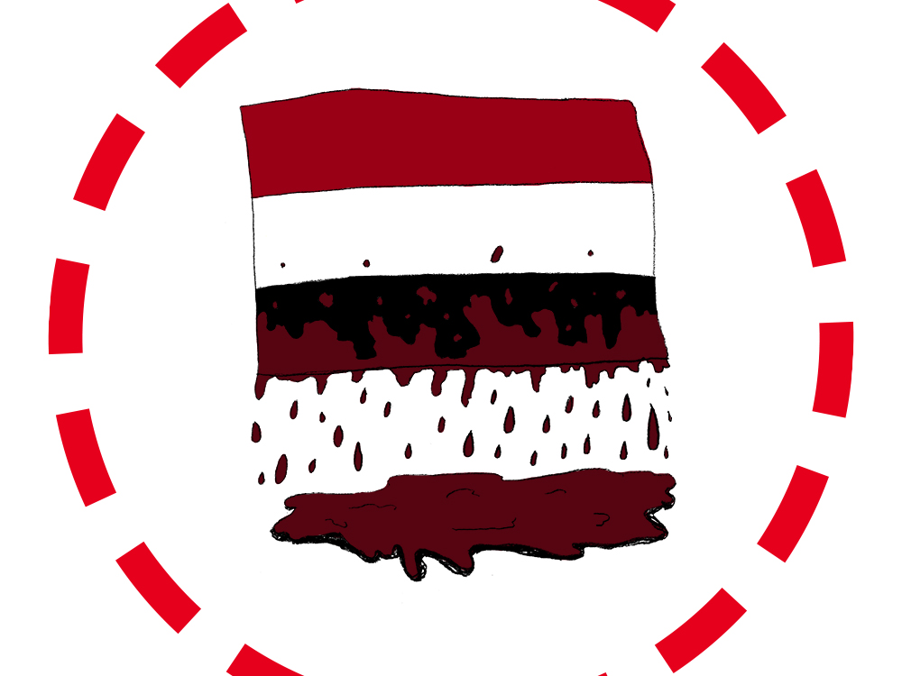 An illustration of the Yemen flag, three broad stripes of red, white, and black. Blood runs off of the flag and onto the floor beneath it. Encircling the flag is a dotted red circle.