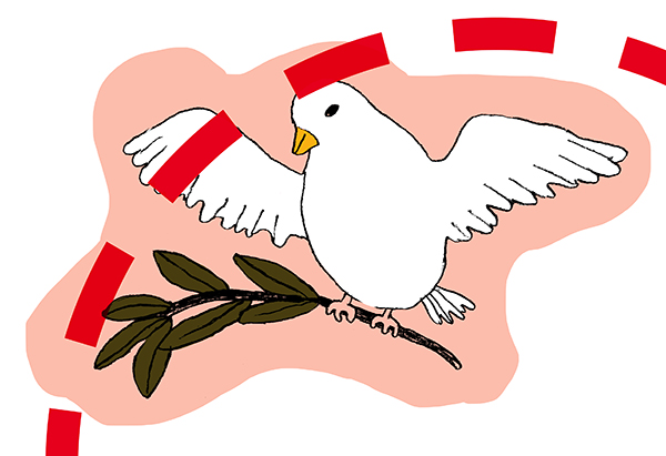 Illustration of a white peace dove carrying an olive branch. Part of a red dotted circle pass through the image.