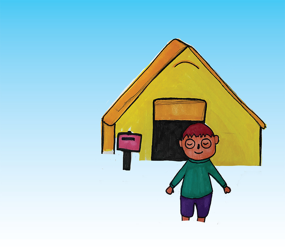 illustration by Greer Siegel of a person happily standing in front of their house in the animal crossing universe. The house is yellow and there is what appears to be a mail box.