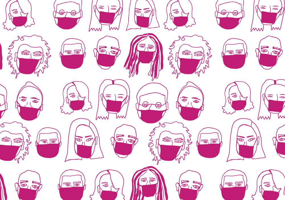 A collage of hand drawn faces of all kinds wearing protective masks on their mouths and noses.