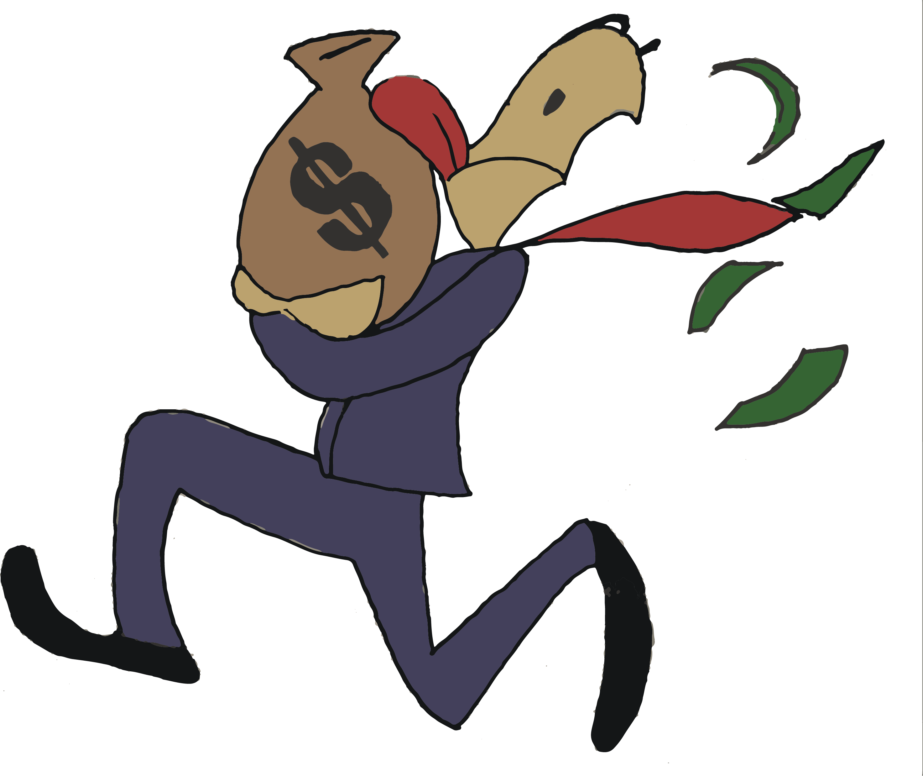 illustration of a rich man in a suit running away with a sack of money.