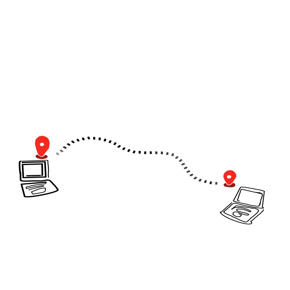 Illustration of two laptop computers connected by a route (dotted line) between them.