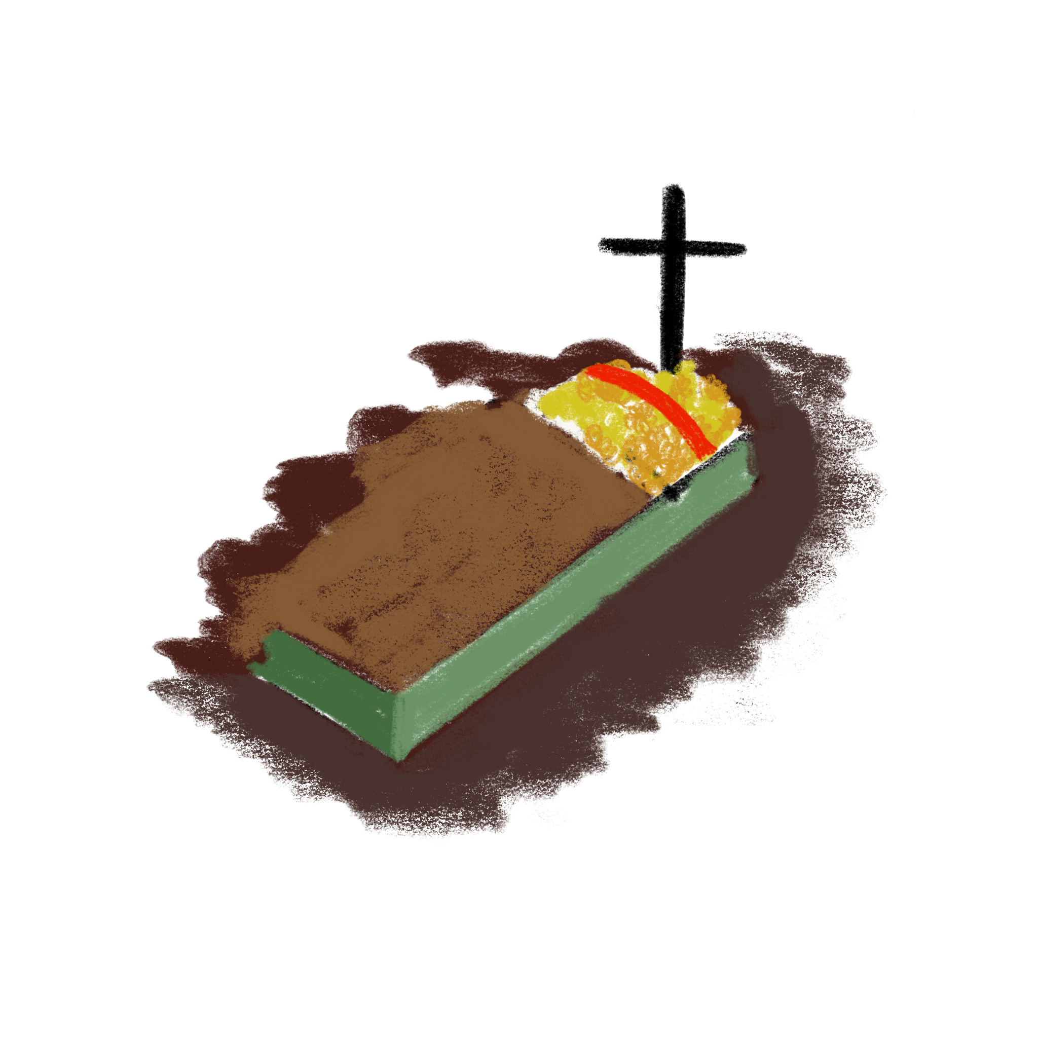 digital illustration of a shallow grave with a cross sitting above the coffin.