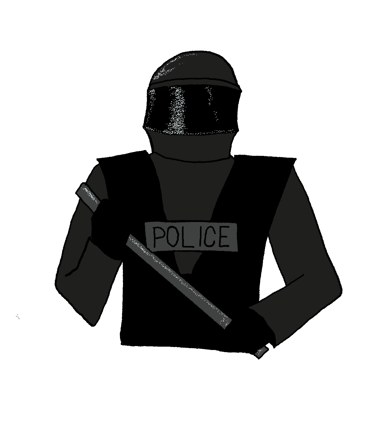 illustration of a police officer dressed in all black SWAT gear holding a baton.